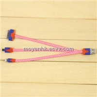 3 in 1 nylon braided USB cable