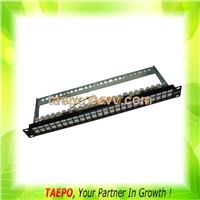 "24-port patch panel, CAT6, RJ45, STP, 19"", 1U, with cable manager"