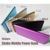 5colors 4000mAh 7.5mm Li-Poly Battery Smartphone USB Shake External Power Bank Portable