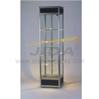 Black Revolving Cabinet Showcase with Tempered Glass