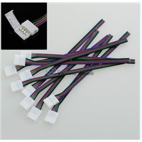 10PCS 10mm 4pin Solderless Strip-to-controller RGB Connector Cable