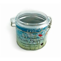 newly design seamless tea tin box with clear lid