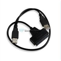 Dual USB 2.0 to SATA 15+7 Pin Data and Power Cable Adapter For 2.5 inch HDD SSD