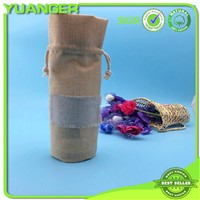Drawstring Round Bottom Shampoo Jute Bottle Bag With Patch Wholesaler