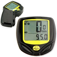 Wireless LCD Bicycle Bike Computer Speedo Odometer Waterproof Speedometer Yellow