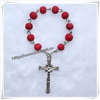 Red 8mm Round Wooden Beads Pray Finger Rosary (IO-ce019)