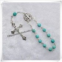 religious stone beads bracelet ,One decade rosary with cross (IO-ce042)