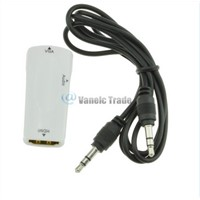 White HDMI female to VGA Converter Adapter 1080P With Audio Cable For PC TV NEW