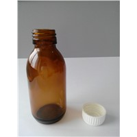 125ML  DIN Pp28mm Pharmaceutical Glass Bottle with White Plastic Cap
