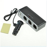 3 Way Cigarette Lighter Socket Splitter 12V/24V DC Power Car Adapter + USB Port