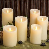 Ivory LED Flameless Mystique luminara type Wax Pillar Timer Candle