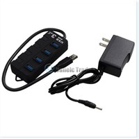 Portable High speed 4 Ports USB 3.0 External Hub Adapter for PC Notebook Laptop