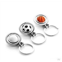 New creative gift product golf football basketball rotary metal keychain keyrings