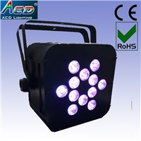 12*5in1 rgbwa battery operated wireless dmx led flat par light, baterry powered light