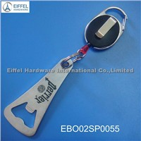 Promotional stainless steel opener with badge reel (EBO02SP0055)