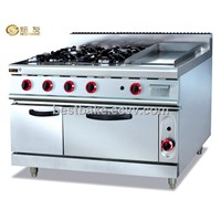 Commercial Gas Range with 4 burner & griddle&oven BY-GH996A