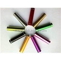 Cylinder aluminum power bank, universal portable 2600mAh cylinder power bank