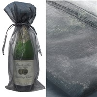 Silver Bottle & Wine Organza Favor Gift Bags