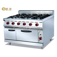 Stainless Steel Combined 6-burner gas range with oven BY-GH997A