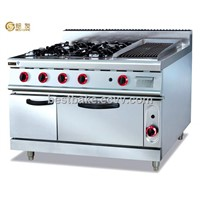 Vertical Gas Range with 4 burners &lava rock grill & oven GH-999A