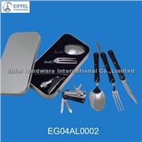 Folding cutlery gift set in metal box (EG04AL0002)