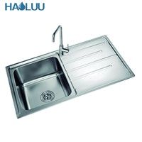 Good Quality Satin Single Bowl Kitchen Sink With Drainboard HL61404