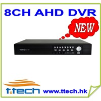 8CH big size 720P Realtime AHD DVR support 2*4TB SATA,8CH audio,4CH alarm
