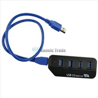 Black 4 Ports USB 3.0 External HUB for PC Laptop HDD MP3 Mouse Super Speed