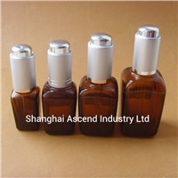 Square Amber Essential Oil Glass Bottle with Screw Cap