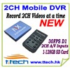 2CH  Mobile DVR, Car DVR, 2CH D1 DVR,Motion Detect DVR support 128GB SD Card Mini Video Camera  DVR