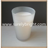 frost glass LED real wick paraffin wax candle