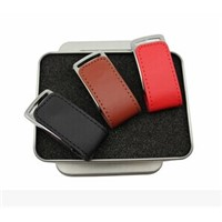New Leather USB Flash Drives with 512MB to 32GB Capacity Range, Leather Wristband and Metal Case