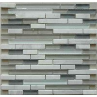 G15481 white marble blue crystal strip mosaic kitchen tile