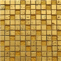 GRT005 gold crystal resin  travertine stone mix mosaic
