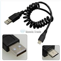 Spring Coiled USB 2.0 Male to Micro USB 5 Pin Data Sync Charger Cable Black