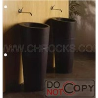 Shanxi Black Granite Pedestal Sink,Absolute Black Pedestal Sink,Black Granite Sink
