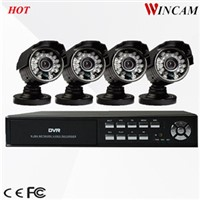 "Economic 1/4"" CMOS 600TVL Security System 4CH CCTV Camera Kit"