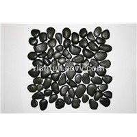 pebbles tile,meshed tile,black pebble tile,pebble paver tile,mesh work pebble tile