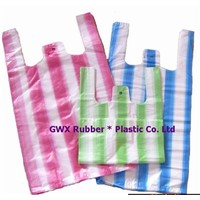 HDPE color striped t-shirt bag