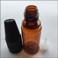 Promotion 10ML PET Plastic  E-cigaret Amber Empty Bottle Black Child Resistant Cap Light Oil Bottle