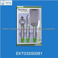 Hot Sale 3pcs Stainless Steel Kitchen Tools in Window Box (EKT03SS0081)