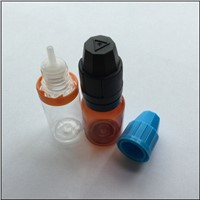 New Design 8ML PET Amber  E-liquid Bottle Easy To Handle  High Quality Chidproof Safty Cap Bottle