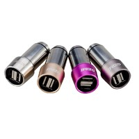 2.4 A dual USB Interfaces Stainless Steel In-Car Charging Adaptor