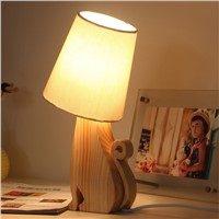 Novel Table lamps, original wooden lamp holder with fabric lamp-chimney, Kitty shape