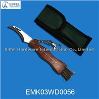 Hot Sale Small Size Mushroom Knife with Wood Handle and Keychain(EMK03WD0056)