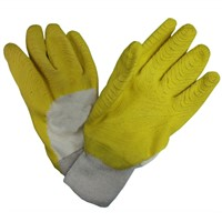 3/4 or Full immersion Latex Coated Gloves,Jerset Lining,Knit Wrist Wrinkle Plam