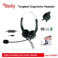 Double Ear UC USB Headset With Volume,Answer/end Call,Mute Control On The Cord