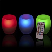 color changing led tea light candle in frosted glass jar