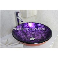 Dark purple foiled hand painted Glass Vessel Sink With High oblique faucet Set N-551