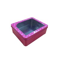 pink gift tin box with pvc window